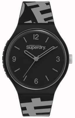 Superdry Mattschwarzes Zifferblatt   schwarz / graues Silikonband   SYG294BE