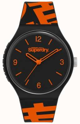 Superdry Schwarz / orange Silikonarmband   mattschwarzes Zifferblatt   SYG294BO