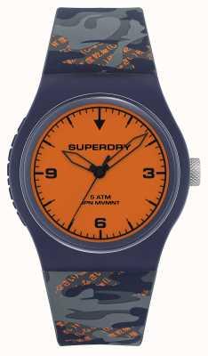 Superdry Orange Zifferblatt | dunkelblaues / orangefarbenes Silikonband | SYG296UO