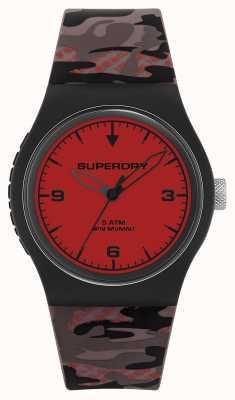 Superdry Unisex | rotes Zifferblatt | Tarngummiband SYG296BR