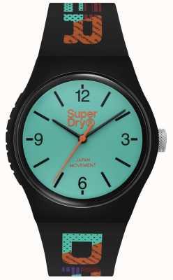 Superdry Mattes blaugrünes Zifferblatt | schwarzes Silikonband | SYG301BAU
