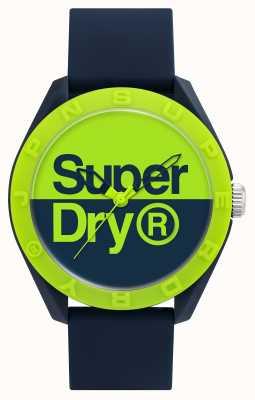 Superdry Navy Silikonarmband   blau / grünes Zifferblatt SYG303UN