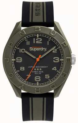 Superdry   osaka   schwarz / khaki Kautschukband   schwarzes Zifferblatt   SYG305NB