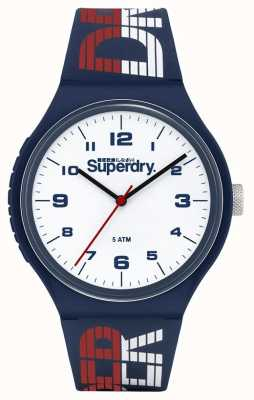 Superdry Blau / weiß / rotes Silikonband   weißes Zifferblatt   SYG269UW