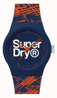 Superdry Marine / orange Silikonarmband   Marine / Orange / Weißes Zifferblatt   SYG292OU