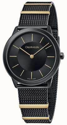 Calvin Klein   minimal   schwarzes Netzarmband   schwarzes Zifferblatt   35mm K3M524Z1