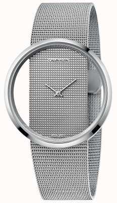 Calvin Klein | glam | Silber Stahl Mesh Armband | silbernes Zifferblatt | K9423T27