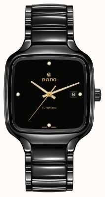 RADO Echte quadratische automatische Diamanten schwarzes Keramikarmband R27078722