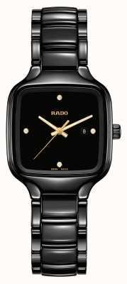 RADO Echte quadratische Diamanten | schwarzes Keramikarmband R27080722