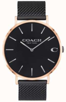 Coach | Herren Charles | schwarzes Netzarmband | schwarzes Zifferblatt | 14602470