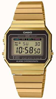 Casio | Sammlung | Armband aus vergoldetem Stahl | digitales Zifferblatt A700WEG-9AEF