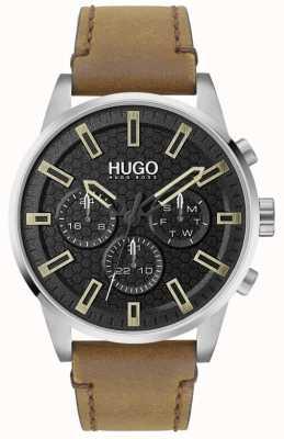 HUGO #suchen | schwarzes Zifferblatt | braunes Lederband 1530150