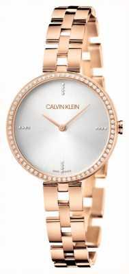 Calvin Klein Eleganz | roségold edelstahl armband | silbernes Zifferblatt KBF23X4W