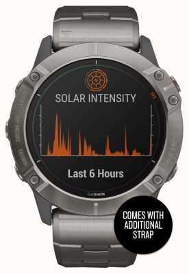 Garmin Fenix 6x pro solar | Titanarmband und orangefarbenes Armband 010-02157-24