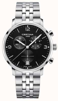 Certina Männer | ds caimano | Chronograph | schwarzes Zifferblatt | rostfrei C0354171105700