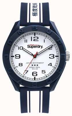 Superdry Osaka Dienstprogramm | blau / weißes Silikonband | weißes Zifferblatt SYG305UW