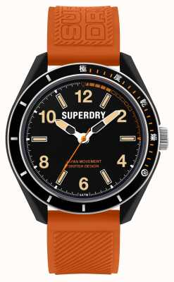 Superdry Osaka tauchen | orange Silikonarmband | schwarzes Zifferblatt SYG304O