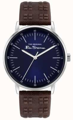 Ben Sherman | Herren braunes Lederband mit Karomuster | blaues Zifferblatt BS031BR