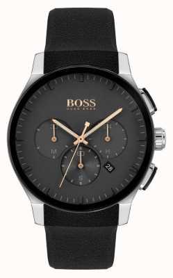 BOSS | Männergipfel | schwarzes Silikonband | schwarzes Zifferblatt 1513759