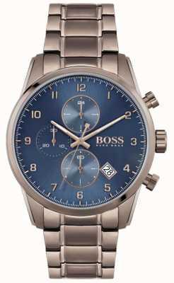 BOSS | Herren Skymaster | braunes ionenbeschichtetes Armband | blaues Zifferblatt 1513788