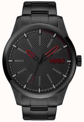 HUGO #invent | schwarzes Stahlarmband | schwarzes Zifferblatt 1530148