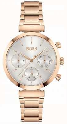 BOSS Makellos | Damen Roségold PvD Armband | silbernes Zifferblatt 1502531