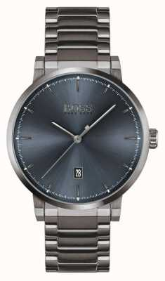 BOSS Vertrauen | graues ionenbeschichtetes Armband | blaues Zifferblatt 1513793