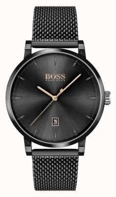 BOSS | Männervertrauen | schwarzes Netzarmband | schwarzes Zifferblatt 1513810