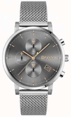 BOSS | Integrität der Männer Stahlgitterarmband | grau / schwarzes Zifferblatt 1513807