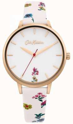 Cath Kidston   cremefarbenes Blumenlederarmband für Damen   weißes Zifferblatt CKL100WRG