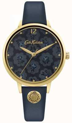 Cath Kidston | dunkelblaues Lederarmband für Damen | Blumenzifferblatt CKL093UG