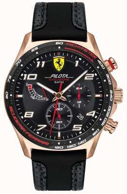 Scuderia Ferrari | Männerpilota | schwarzes Leder / Silikonarmband | schwarzes Zifferblatt 0830719