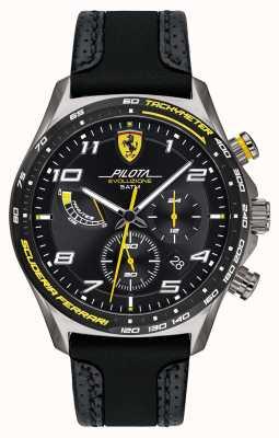 Scuderia Ferrari | Männerpilota | schwarzes Silikon / Lederband | schwarzes Zifferblatt 0830718