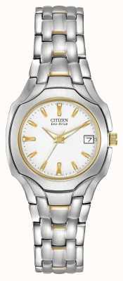 Citizen Womens zwei-Ton mit weißem Zifferblatt Öko-Laufwerk EW1254-53A