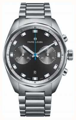 Favre Leuba Sky Chief Chronograph | Edelstahlarmband | schwarzes Zifferblatt 00.10202.08.11.20