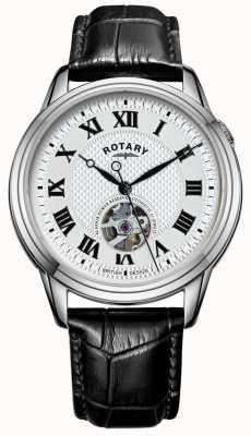 Rotary Cambridge automatisch | schwarzes Lederband | silbernes Zifferblatt GS05365/70
