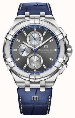 Maurice Lacroix Herren Aikon   blaues Lederband   graues Zifferblatt AI1018-SS001-333-1