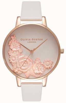 Olivia Burton Rosa Zifferblätter | erröten Lederband | Blumenzifferblatt OB16FS85