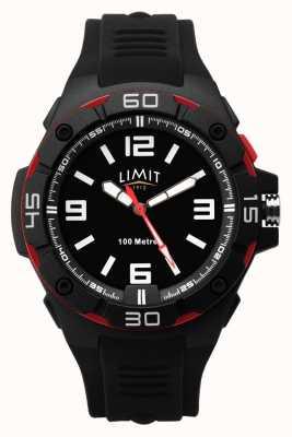 Limit | schwarzes Kautschukband für Herren | schwarzes Zifferblatt | rot / schwarze Lünette 5789.65