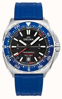 Delma Oceanmaster Quarz | blaues Kautschukband | schwarzes Zifferblatt 41501.676.6.048