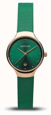 Bering Frauenklassiker | grünes Netzband | poliertes Roségold 13326-868