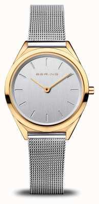 Bering Frauen ultra schlank | silbernes Netzarmband | poliertes Gold 17031-010