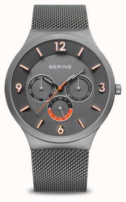 Bering Herrenklassiker | grau gebürstet | graues Netzband | 33441-377