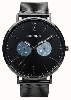 Bering Unisex classic | schwarz poliert | schwarzes Netzband 14240-123
