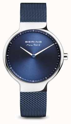 Bering Max rené | poliertes Silber | blaues Netzband 15531-307
