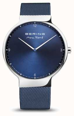 Bering Max rené | poliertes Silber | blaues Netzband 15540-307