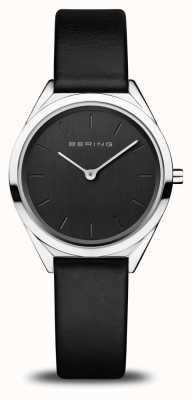 Bering Ultra-schlanke Frauen | poliertes Silber | schwarzes Lederband 17031-402