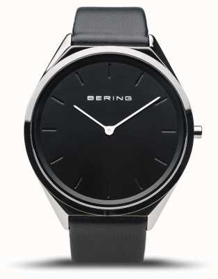 Bering Ultra-schlank | poliertes Silber | schwarzes Lederband 17039-402