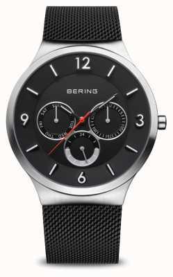 Bering Herrenklassiker   gebürstetes Silber   schwarzes Netzarmband 33441-102