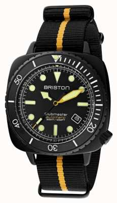Briston Clubmaster Taucher Pro | schwarz / gelber nato riemen | schwarzes Zifferblatt 20644.PBAM.B.34.NBY
